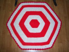 Handmade Crocheted rug and stool cover red by Traincasesandmore, $25.00