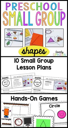 Do you have pre-k students in need of a little extra practice with naming 2D shapes? This Preschool Small Group Lesson Plan set uses games and hands-on fun to encourage skill learning. 10 lesson plans are included, along with all the printables you need t