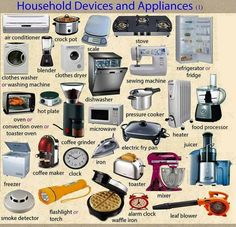 Household Devices and Appliances Vocabulary in English - ESLBuzz Learning English English Writing, English Study, English Class, English Grammar, Grammar And Vocabulary, English Vocabulary Words, Learn English Words, English Prepositions, Learning English For Kids