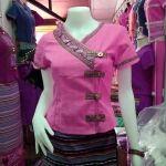 เสื้อผ้าไทย เสื้อผ้าฝ้าย เสื้อ เสื้อทำงาน เสื้อผ้าฝ้ายสีชมพู แต่งกุ้นสีปักโลหะรูปช้าง