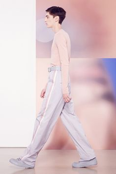 - GARMENT  INTERPRETATION 5 -Jil Sander   Spring 2015 Menswear Collection   Look 16. This look portrays a more feminine side with the use of pastel colours and a fitted top.