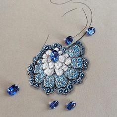 Earrings, fans, sapphires, VanLeles