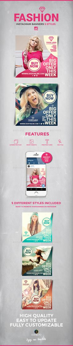 Fashion Instagram Banners Template #design #ads Download: http://graphicriver.net/item/fashion-instagram-banners/12371697?ref=ksioks