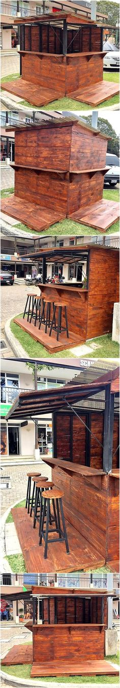 Reclaimed Wood Pallets Patio Bar Plan_This would make a great outlet for food or drinks at an event, or permanently in place.