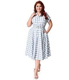 cf35e81ff7bb Unique Vintage Plus Size Light Blue   White Gingham Alexis Shirtdress 1950s  Style