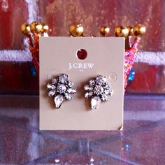 """J Crew Factory Crystal Statement Earrings NWT these earrings will come to you in an earring box for safekeeping. These earrings are simple yet elegant and would be great for a bride to wear or as bridesmaids gift. Earrings measure 1"""" in length and 3/4"""" across. Made of faux crystals with a faux vintage antique gold-plated finish on the back. No Factory pouch. No Trades & No Paypal. All photos taken by me of the earrings - please do not use without my permission. J.Crew Factory Jewelry…"""