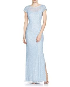 Aidan Mattox Cowl Back Embellished Gown