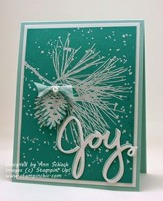 Layered Sentiment Card by Ann Schach (121114) [Stampin Up! (dies) Wonderful Wreath Framelits; (stamps) Ornamental Pine]