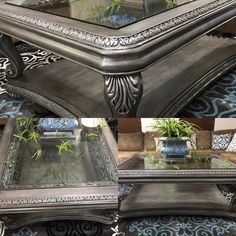 Coffee table finished with Annie Sloan French Linen, black wax, Modern Masters silver, and General Finishes Champagne Pearl
