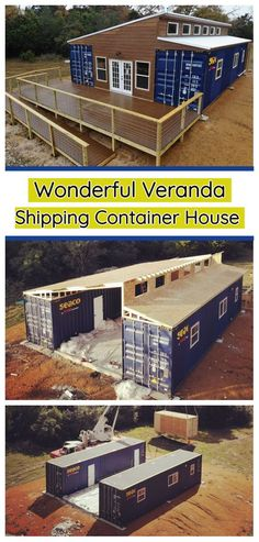 Wonderful Veranda Shipping Container House – USA I could see this place using haybale or earthbag or whatever in the middle. Either way, the over hangs need to be much longer. Building A Container Home, Container Buildings, Container Architecture, Garden Buildings, Container Houses, House Architecture, Cargo Container, Sustainable Architecture, Container Home Designs