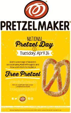 Pinned April 23rd: Free pretzel #Tuesday at Pretzelmaker #coupon via The #Coupons App
