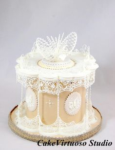 Curved panelled royal icing cake, in Nirvana style.