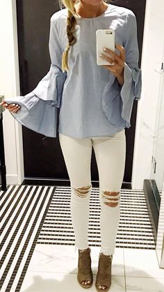 fashionable outfit: top + rips + heels