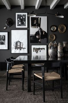 8 Chic Black Dining Rooms Interior Of Modern Dining Room With Wooden And Black Walls Concrete 30 Beautiful Black Rooms 28 Ideas For Black Wall Interiors How To Decoration Inspiration, Interior Design Inspiration, Design Ideas, Design Projects, Design Trends, Colour Trends, Decor Ideas, Diy Projects, Decoracion Vintage Chic