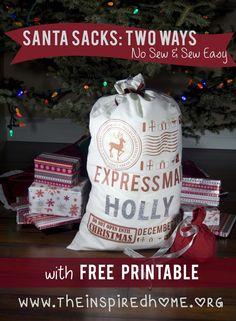 DIY Santa Sacks: 2 Ways. No Sew & Sew Easy.