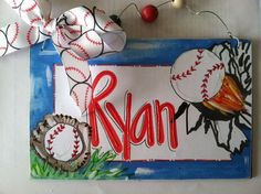 Hand Personalized baseball room name sign by pinkfishstudios, $12.95