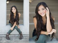cute senior girl pose