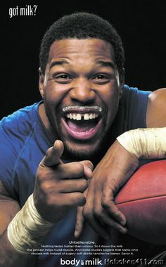 """Michael Strahan #92 (DE) New York Giants poses for the famous advertising campaign, """"Got Milk?"""""""