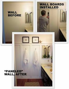The look of paneling on a budget.                                                                                                                                                     More