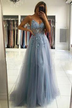 Illusion neck Storm Blue V-neck Tulle See-through Evening Dress – Ballbella Pretty Prom Dresses, A Line Prom Dresses, Tulle Prom Dress, Prom Dresses Online, Formal Evening Dresses, Blue Dresses, Prom Dress Long, Gray Formal Dress, Glitter Prom Dresses