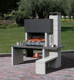 barbecue fixe en matériaux modernes avec banc
