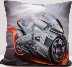Szara dekoracyjna poszewka 40x40 z motocyklem