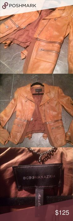 BCBG leather tan jacket size small Super nice and great quality bcbg jacket size small. Very flattering. BCBG Jackets & Coats Blazers