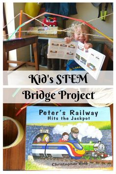 Another amazing STEM project for kids, making bridges for a railway project with Peter's Railway books.