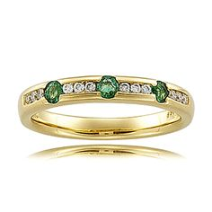 14k Yellow Gold Traditional Emerald Ring Anniversary Band w Diamond | eBay Want this! Only with Saphires and another one with rubies!!!