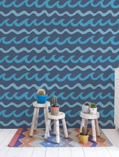 Swell Wallpaper in Cruz. Swell is a pattern co-designed by Aimée Wilder + Mowgli Surf www.mowglisurf.com
