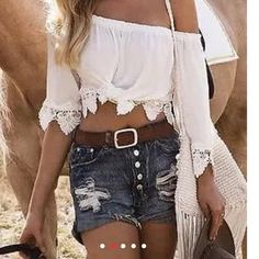 Lace Off the Shoulder Midriff Crop Top Lace elastic neckline off the shoulder midriff crop top features lace edging around the arms and bottom of top. Color: white, in sizes S, M. New w/o tags. Tops Crop Tops