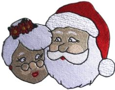"[Single Count] Custom and Unique (6"" by 5"" Inches) Seasonal Holiday Festive Christmas Mr and Mrs Santa Clause Iron On Embroidered Applique Patch {Red, White, Tan & Green Colors}"
