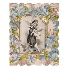 Vintage 1920s Unused Embossed Folding Valentine Greeting Card Little Girl with Doves