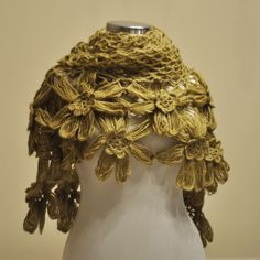 Homemade-Olive Green Flower Mohair Triangle Shawl. $50.00, via Etsy.