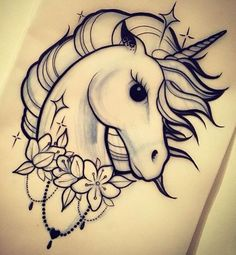 Unicorn Head 430 (Pack of . Unicorn Tattoo Stencil  Pencil Art Drawings, Art Drawings Sketches, Cute Drawings, Animal Drawings, Tattoo Drawings, Drawings Of Unicorns, Tattoos To Draw, Hipster Drawings, Tattoo Sketches