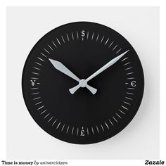 Shop Time is money round clock created by univercitizen. Time Is Money, Clock, Prints, Clocks, Watch, Printed, Art Print, The Hours