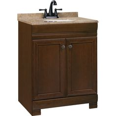 Shop Style Selections Windell 24-1/2-in x 18-1/2-in Java Integral Single Sink Bathroom Vanity with Solid Surface Top at Lowes.com