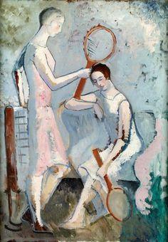 Tennis Players - Christopher Wood , 1921 British, Oil on canvas Peter Wood, Glasgow Museum, Couple Illustration, Tennis Players, Portrait Art, Figure Painting, Figurative Art, Female Art, Art Drawings
