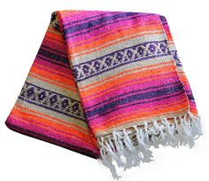 Amazon.com: Del Mex Purple, Orange, Tan Mexican Yoga Beach Blanket Vintage Style (Monterey): Home & Kitchen