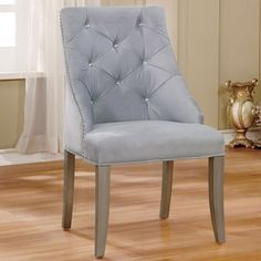 Furniture of America Selano Contemporary Tufted Flannelette Silver Wingback Dining Chair (Set of - 22 X 26 X Furniture Of America, Tufted Side Chair, Upholstered Dining Chairs, Chair, Furniture, Vanity Chair, Chair Set, Formal Dining Room, Vanity Table