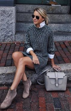 Fall Outfits To Copy This Season: grey cable knit sweater dress, grey booti. - - Fall Outfits To Copy This Season: grey cable knit sweater dress, grey booties, white high neck shirt, grey bag. The best fall fashion to get you i. Trendy Fall Outfits, Fall Outfits For Work, Winter Fashion Outfits, Fall Winter Outfits, Sweater Fashion, Autumn Winter Fashion, Casual Winter, Fashion Clothes, Dresses For Winter