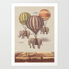 Flight of the Elephants  Art Print by Terry Fan - $18.00