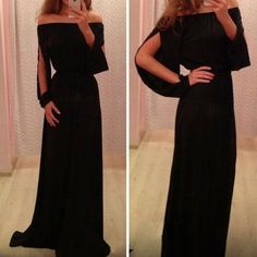 Stylish Women's Off The Shoulder Long Sleeve Chiffon Dress