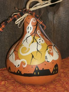 Halloween Gourd Hand Painted Folk Art Spooky by TheRootCellar, $15.00