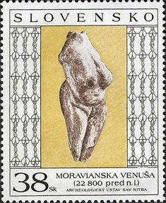 Postage stamp Moravany Venus Moravany Venus on a Slovakian postage stamp  Country / PostSlovakia Date of Issue20 October 2006 Primary themeFine Arts (Painting)  SubjectArt - Venus of Moravany Width44.5 mm Height54.0 mm Denomination38.00 SKK Number in set2 (show set) Layout/Formatsheet of 4 Perforations12 by 12 Stamp issuing authoritySlovak Post PrinterPostal Stationery Printing House, Prague Photo and text: http://www.wnsstamps.ch/en/stamps/SK019.06