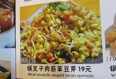 """Funny-Chinese-Mistranslation- """"Meat muscle stupid bean sprouts"""""""