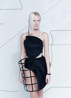 Innovative Fashion Design - asymmetric cage skirt; sculptural fashion // Chromat