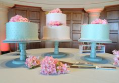 12 Cake stand Trio  set of three painted wood by FinishYourCake, $130.00