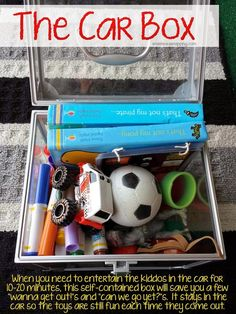 Is there anything worse than unhappy kids trapped in their seat belts? The Car Box is my lifesaver! A small collection of toys and books that stay in the car and only come out when the kids get restless. They store in a small box under the seat so they ar