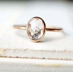 Dainty Gold Ring, Engagement Ring, White Topaz Ring, Yellow Gold Ring, Rose Gold Ring, Gemstone Ring, Gold Ring, Mothers day Ring, Oval Ring